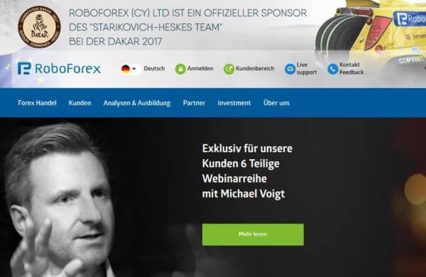 So präsentiert sich der Broker RoboForex auf seiner Webseite