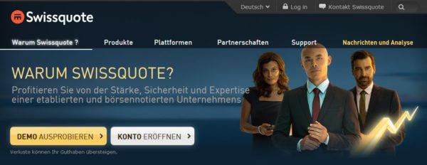 Der Webauftritt des Brokers Swissquote