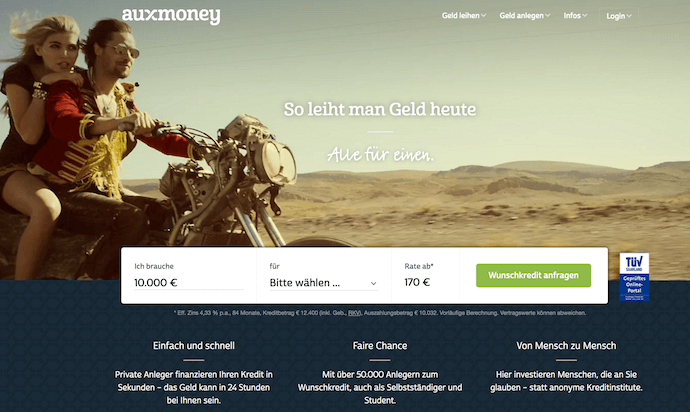 auxmoney Webauftritt