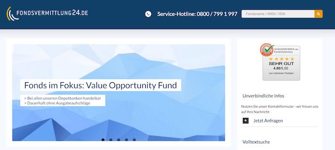 Fondsvermittlung24 Webseite