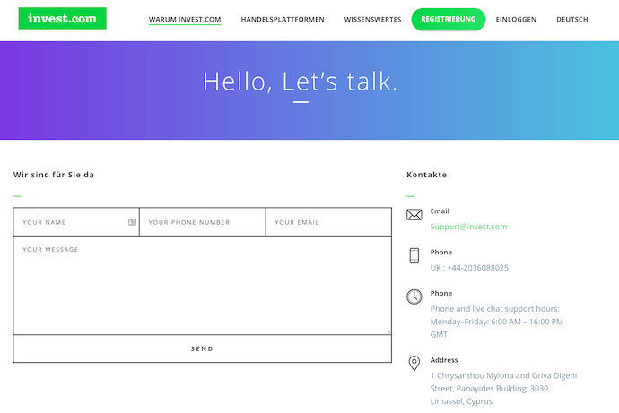 invest.com Kundenservice