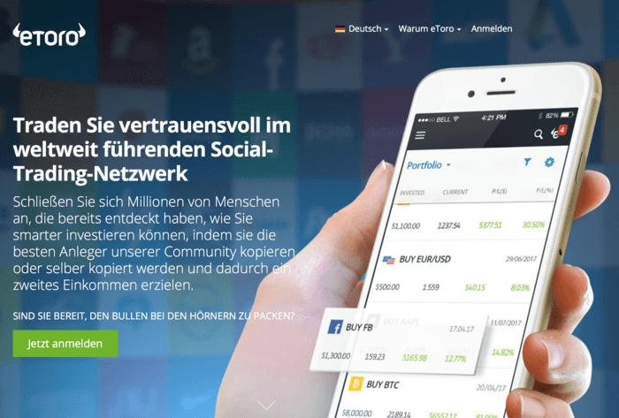 Traden Sie vertrauensvoll im weltweit führenden Social-Trading-Netzwerk - eToro