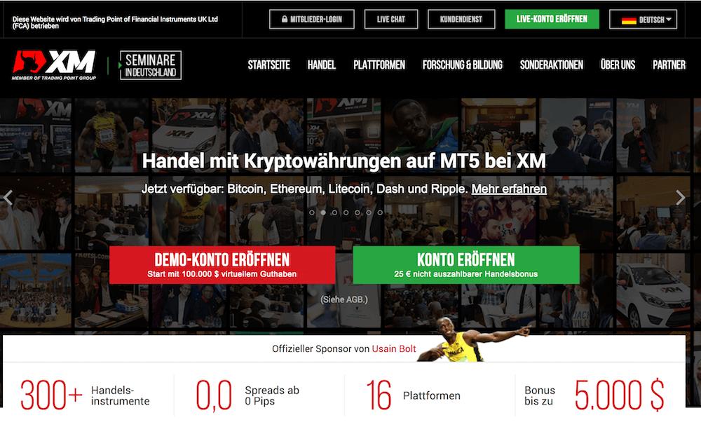 XM.com Website - auch Kryptowährungen sind handelbar