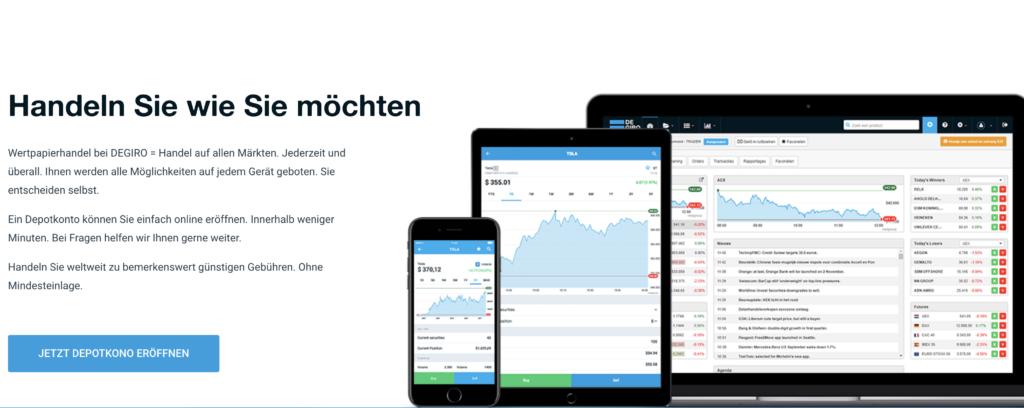 Alle Finanzprodukte können DEGIRO Kunden auch auf dem Smartphone oder Tablet finden und handeln