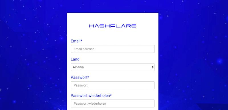 HashFlare Kontoeröffnung