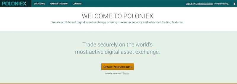 Poloniex Internetauftritt