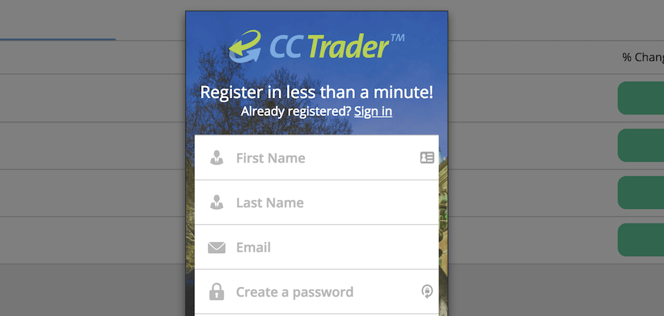 ccTrader Kontoeröffnung - in wenigen Schritten möglich