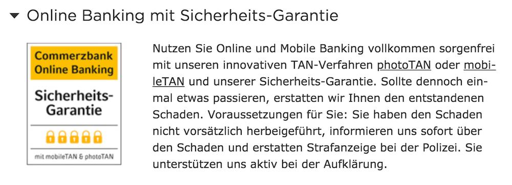 Commerzbank Online Banking Sicherheit