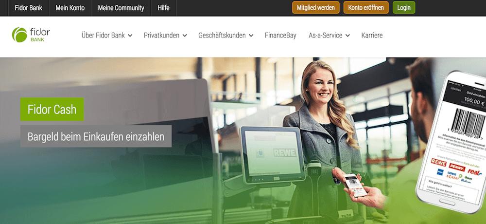 fidor Bank Internetpräsenz