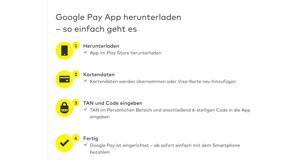 Google Pay comdirect Funtion