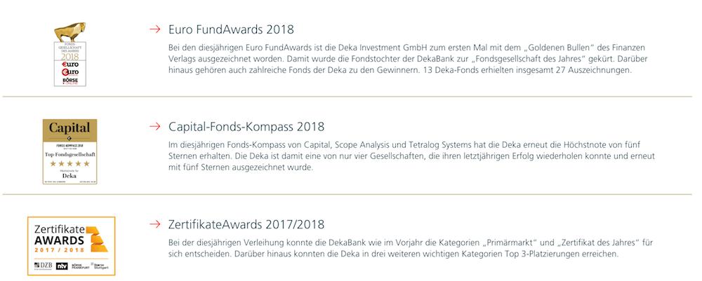 Deka Auszeichnungen