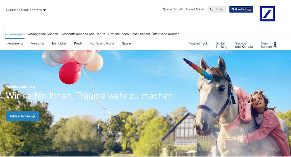 Deutschen Bank Webseite