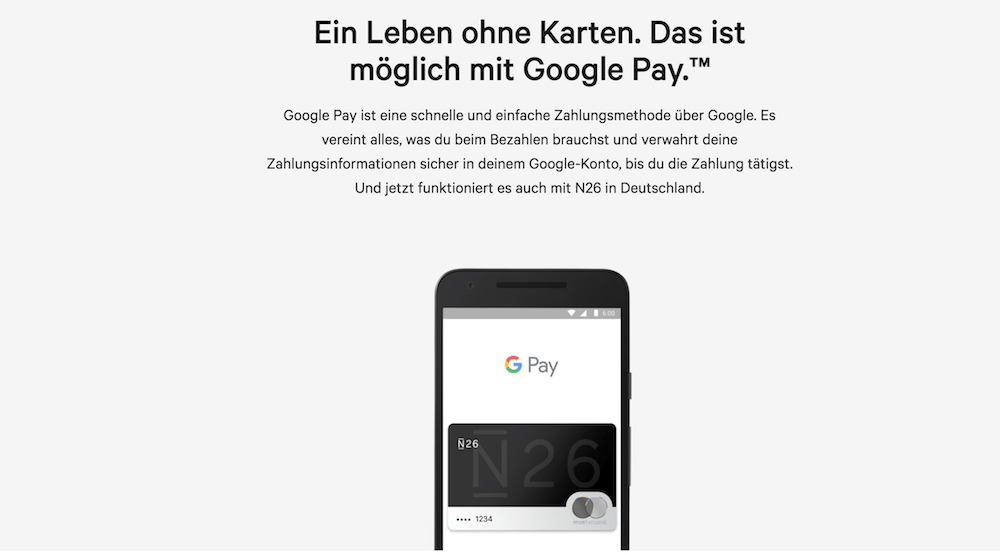N26 Bezahldienst Google Pay