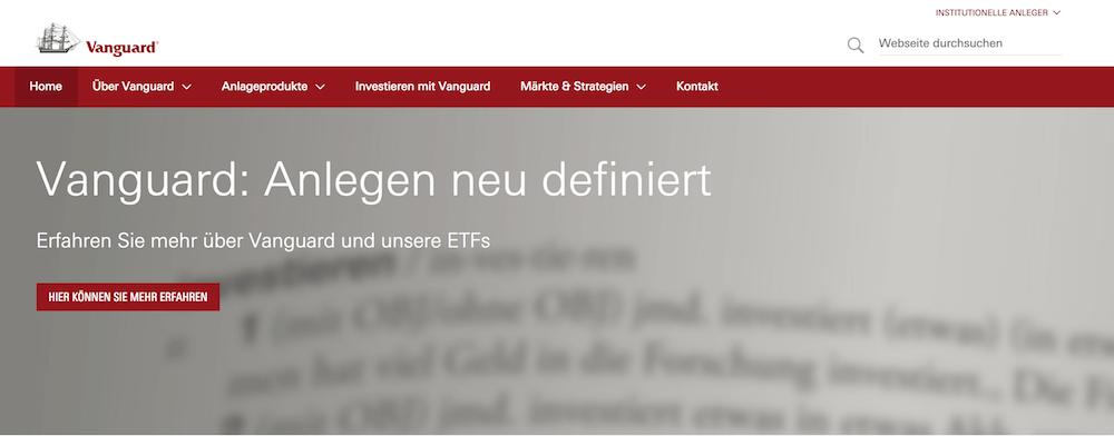 Vanguard Webseite