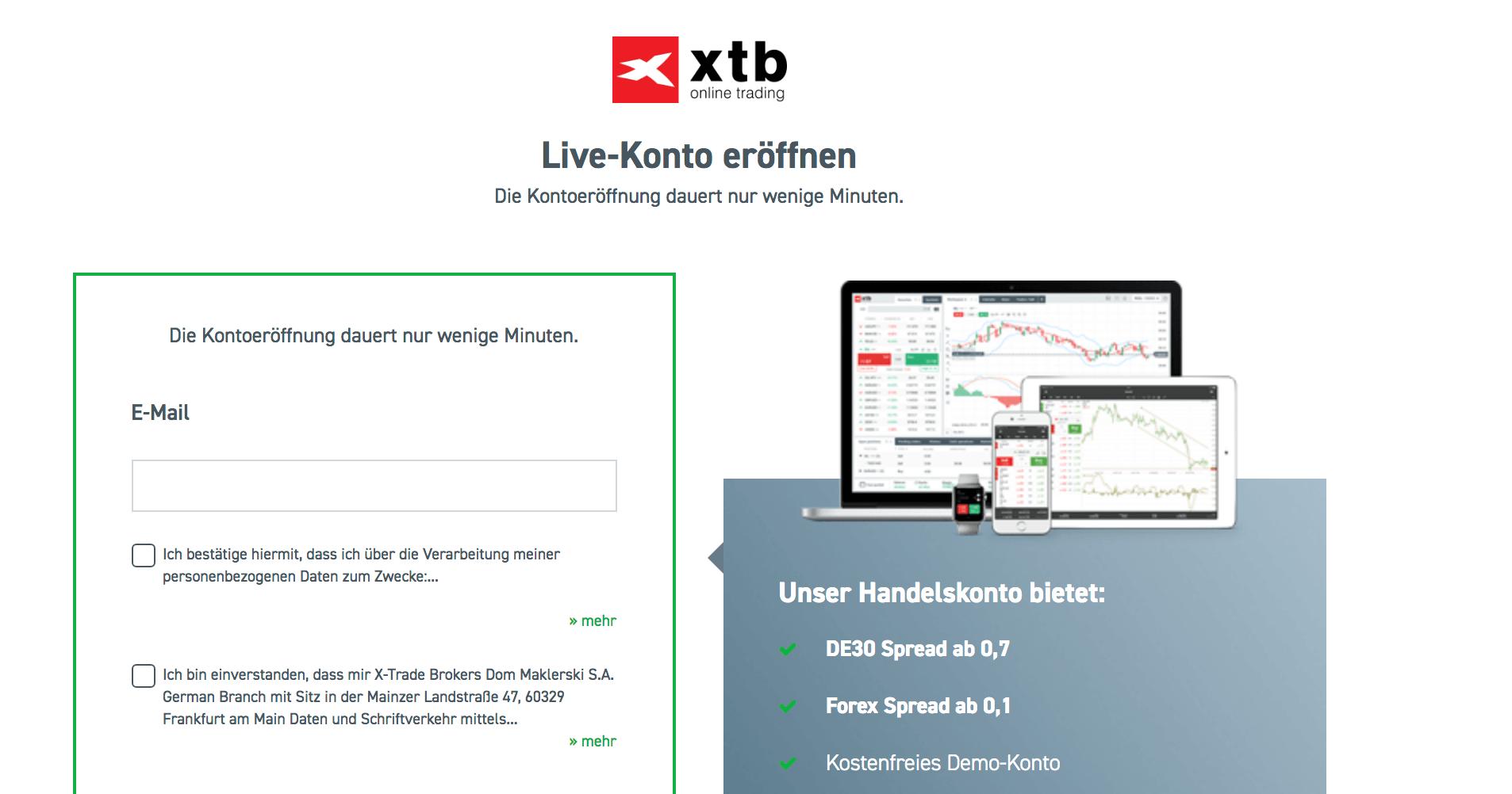 Binnen weniger Minuten ist das Live-Konto bei XTB eröffnen und der erste Trade kann vollzogen werden