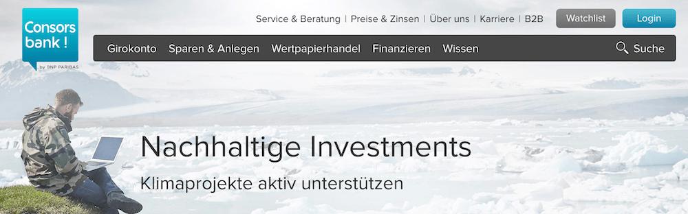 Consorsbank nachhaltige Investments