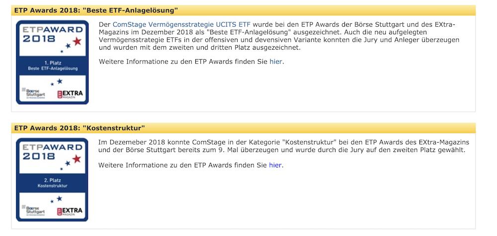 ComStage ETFs Auszeichnungen
