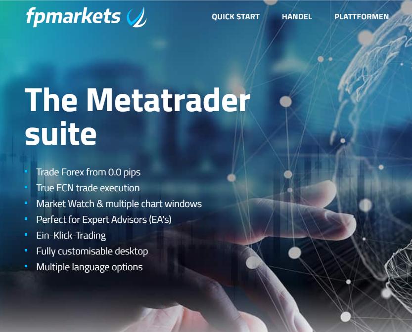 FP Markets bietet Ihnen eine Metatrader -Suite
