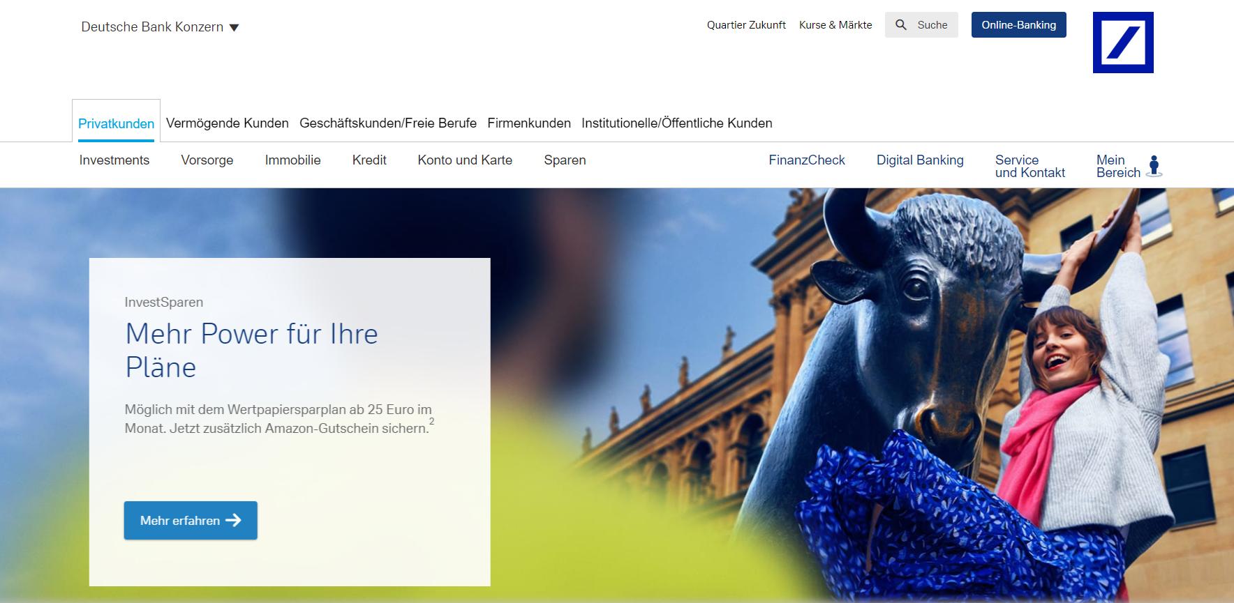 Ein Blick auf die Webseite der Deutschen Bank