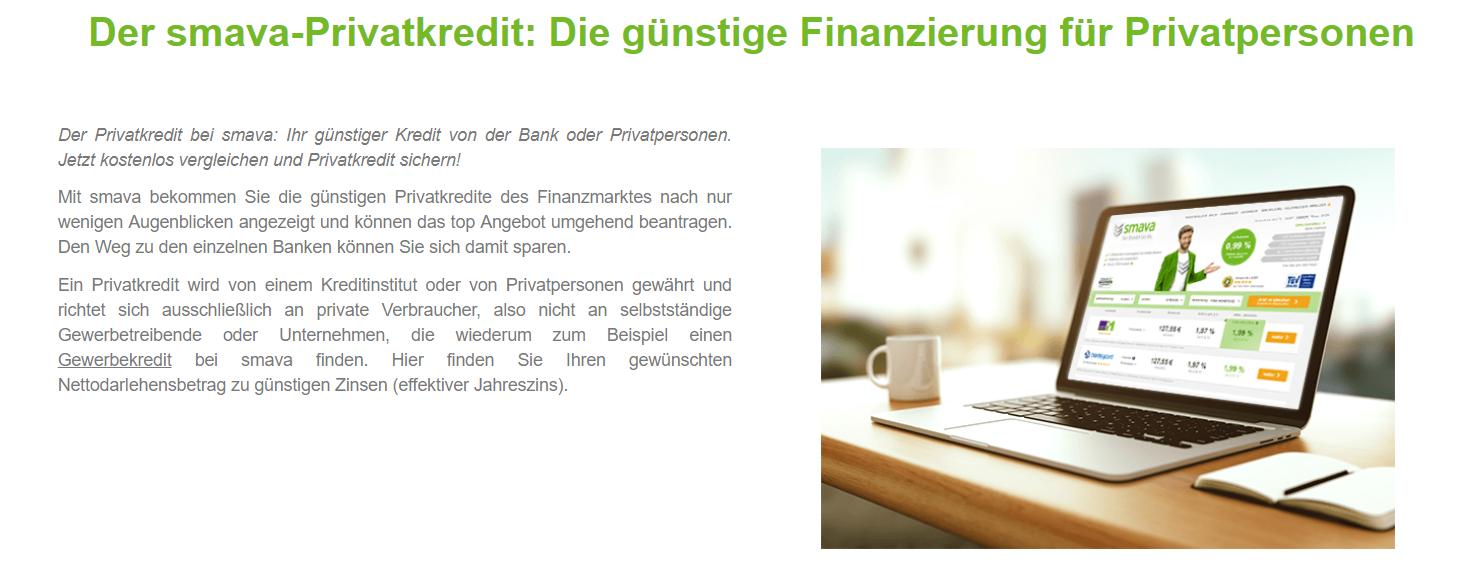 smava bietet auch den Privat-Kredit an