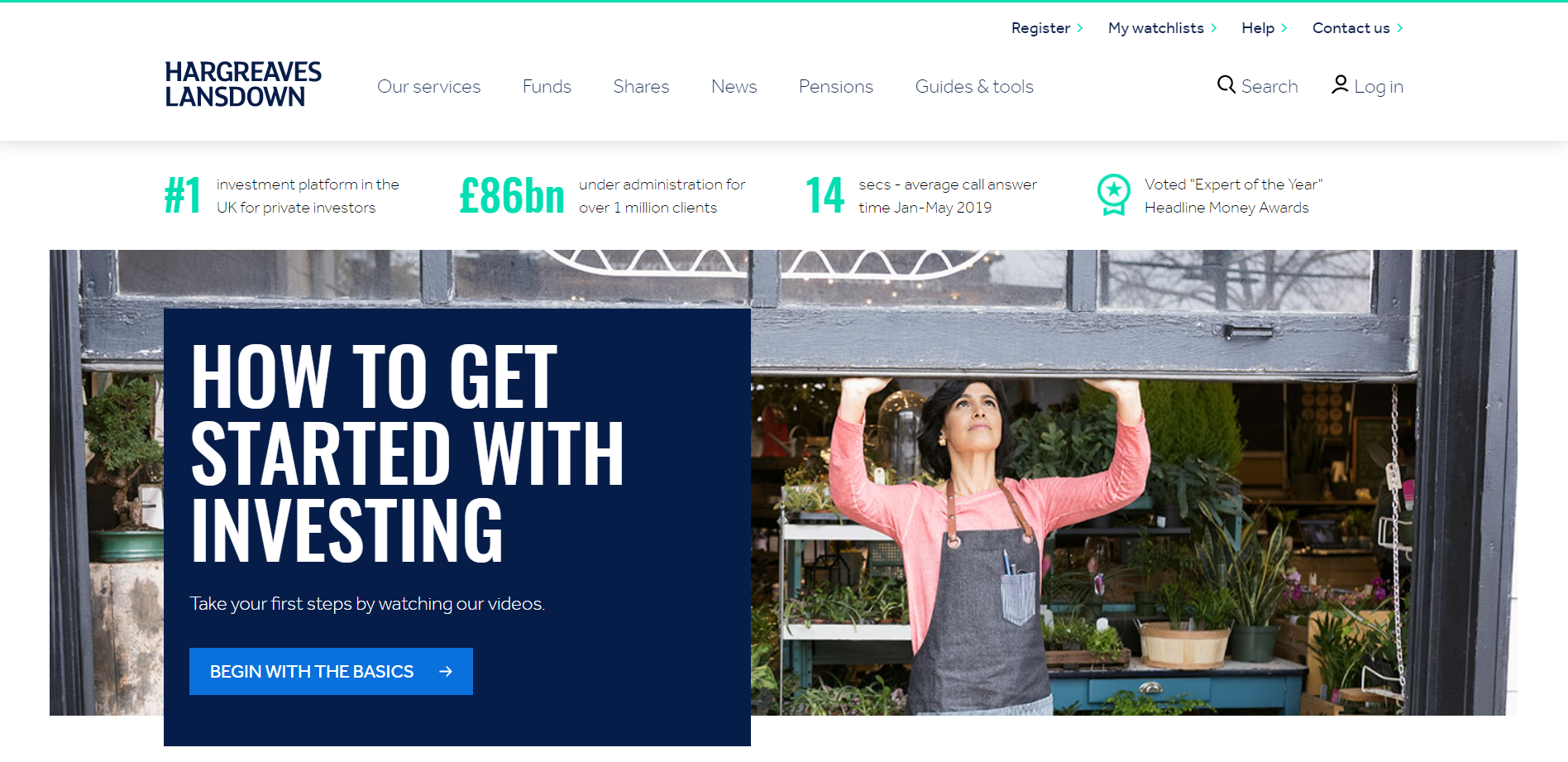 A view to the website of HARGREAVES LANSDOWN