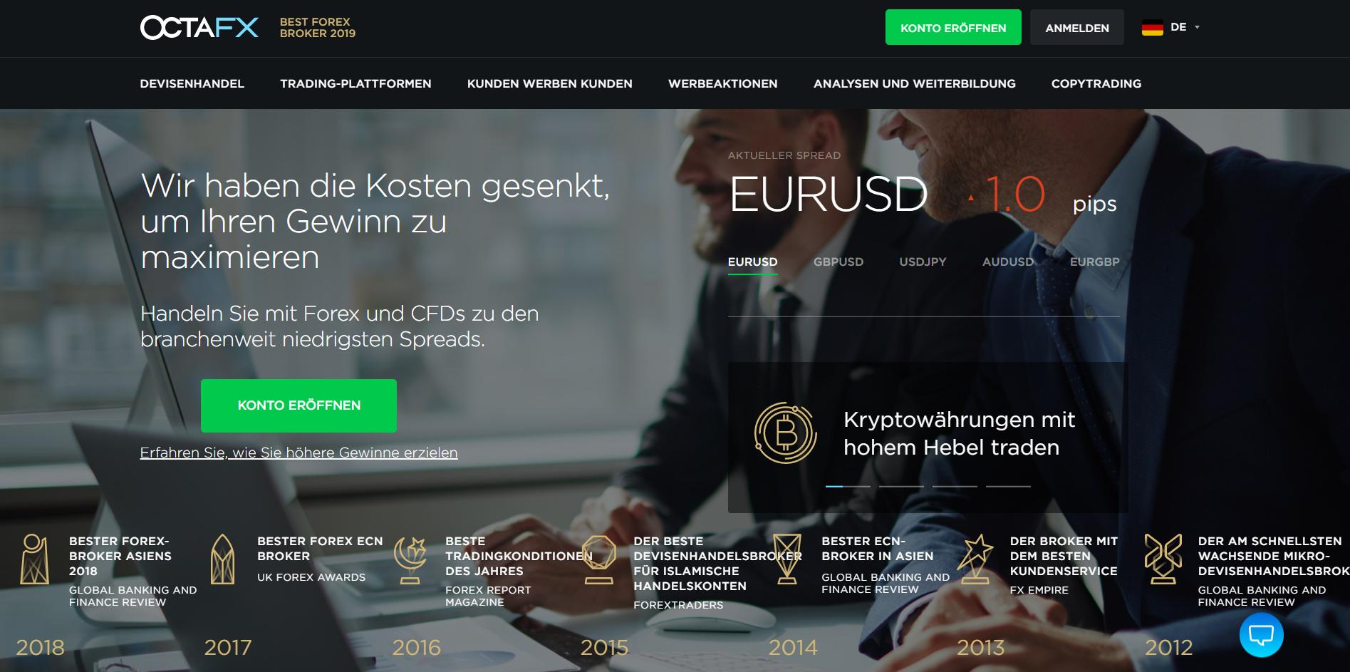 Das ist die Website von OctaFX